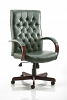 Chesterfield Executive Leather Chair With Arms Green