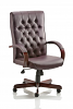 Chesterfield Executive Leather Chair With Arms Burgundy