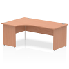Impulse 1600 Left Hand Crescent Desk with Panel Leg Beech