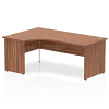Impulse 1800 Left Hand Crescent Desk with Panel Leg Walnut