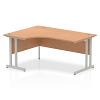 Impulse 1600 Left Hand Crescent Desk with Cantilever Leg Oak