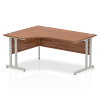 Impulse 1600 Left Hand Crescent Desk with Cantilever Leg Walnut
