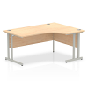 Impulse 1600 Right Hand Crescent Desk with Cantilever Leg Maple