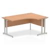 Impulse 1600 Right Hand Crescent Desk with Cantilever Leg Oak