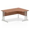 Impulse 1600 Right Hand Crescent Desk with Cantilever Leg Walnut