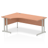Impulse 1800 Left Hand Crescent Desk with Cantilever Leg Beech
