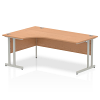 Impulse 1800 Left Hand Crescent Desk with Cantilever Leg Oak