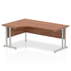 Impulse 1800 Left Hand Crescent Desk with Cantilever Leg Walnut