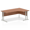 Impulse 1800 Right Hand Crescent Desk with Cantilever Leg Walnut