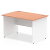 Impulse Panel End 1200 Rectangle Desk with White Panels Beech