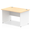 Impulse Panel End 1200 Rectangle Desk with White Panels Maple