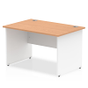 Impulse Panel End 1200 Rectangle Desk with White Panels Oak