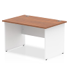 Impulse Panel End 1200 Rectangle Desk with White Panels Walnut