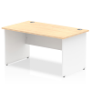Impulse Panel End 1400 Rectangle Desk with White Panels Maple