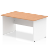 Impulse Panel End 1400 Rectangle Desk with White Panels Oak