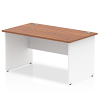 Impulse Panel End 1400 Rectangle Desk with White Panels Walnut