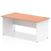 Impulse Panel End 1600 Rectangle Desk with White Panels Beech