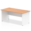 Impulse Panel End 1600 Rectangle Desk with White Panels Oak