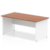 Impulse Panel End 1600 Rectangle Desk with White Panels Walnut
