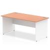 Impulse Panel End 1800 Rectangle Desk with White Panels Beech