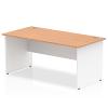 Impulse Panel End 1800 Rectangle Desk with White Panels Oak