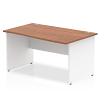 Impulse Panel End 1400 Right Hand Wave Desk White Panels Walnut