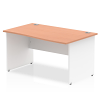 Impulse Panel End 1400 Right Hand Wave Desk White Panels Beech