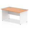 Impulse Panel End 1400 Right Hand Wave Desk White Panels Oak