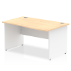 Impulse Panel End 1400 Right Hand Wave Desk White Panels Maple