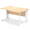 Impulse 1400 Right Hand White Cable Managed Leg Wave Desk Maple