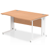 Impulse 1400 Right Hand White Cable Managed Leg Wave Desk Oak