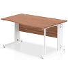 Impulse 1400 Right Hand White Cable Managed Leg Wave Desk Walnut
