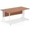 Impulse 1600 Left Hand White Cantilever Leg Wave Desk Walnut
