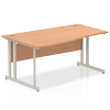Impulse 1600 Left Hand Wave Desk with Cantilever Leg Oak
