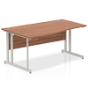 Impulse 1600 Left Hand Wave Desk with Cantilever Leg Walnut
