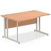 Impulse 1400 Left Hand Wave Desk with Cantilever Leg Oak