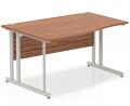 Impulse 1400 Left Hand Wave Desk with Cantilever Leg Walnut