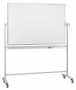 Revolving whiteboard on mobile stand, lacquered steel