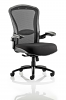 Houston Heavy Duty Task Operator Chair Mesh Back Seat With Arms Black Fabric