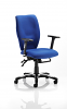 Sierra Task Chair Black Fabric With Arms Blue