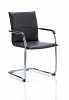 Echo Visitor Cantilever Chair Bonded Leather With Arms Black