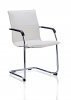 Echo Visitor Cantilever Chair Bonded Leather With Arms White