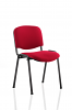 ISO Stacking Chair Black Frame Without Arms Wine Fabric