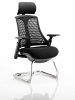 Flex Visitor Cantilever Chair Black Frame Black Fabric Seat With Arms and Headrest Black