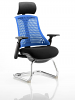 Flex Visitor Cantilever Chair Black Frame Black Fabric Seat With Arms and Headrest Blue