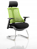 Flex Visitor Cantilever Chair Black Frame Black Fabric Seat With Arms and Headrest Green