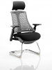 Flex Visitor Cantilever Chair Black Frame Black Fabric Seat With Arms and Headrest Grey