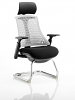 Flex Visitor Cantilever Chair Black Frame Black Fabric Seat With Arms and Headrest Moonstone White