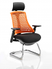 Flex Visitor Cantilever Chair Black Frame Black Fabric Seat With Arms and Headrest Orange