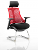 Flex Visitor Cantilever Chair Black Frame Black Fabric Seat With Arms and Headrest Red